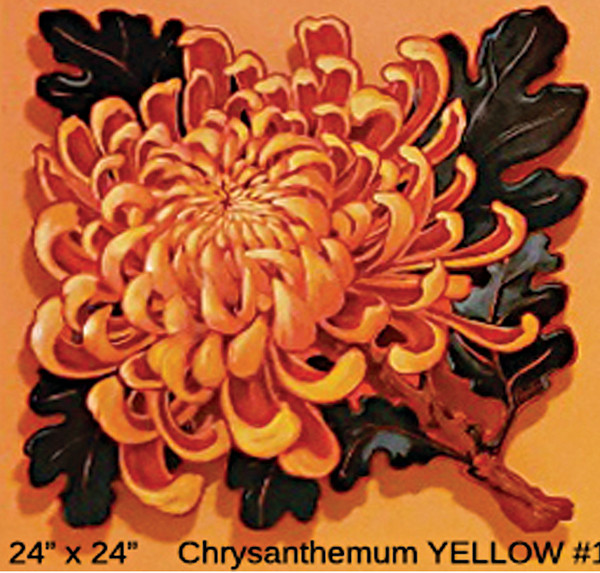 LIVE EDGE  Chrysanthemum YELLOW  #1 by Jan Poynter