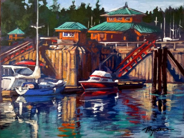 Gibsons Wharf - red rails by Jan Poynter
