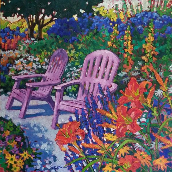 """""""Pink Chairs – Red lilies"""" Granthams Landing BC by Jan Poynter"""