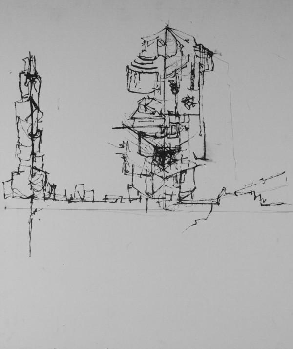Wireframe Desert City by Lola Kahan