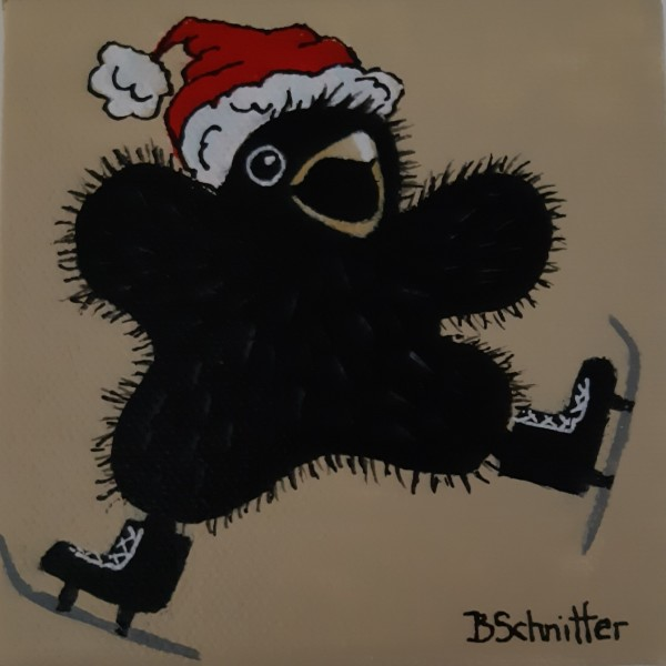 baby crow skating by Bonnie Schnitter