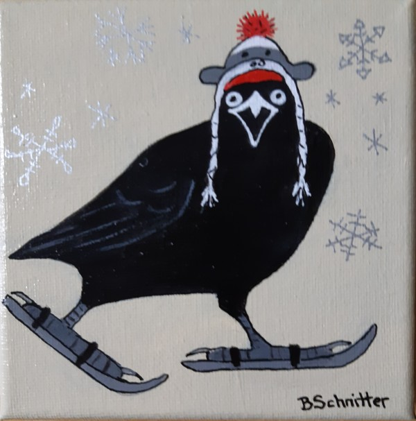 Crow Skiing by Bonnie Schnitter