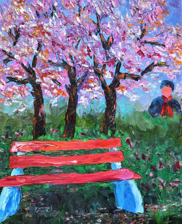 Park Bench in Poland by Gwen Meharg