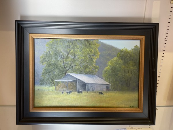 Barn, Bales and Black Angus by Tarryl Gabel
