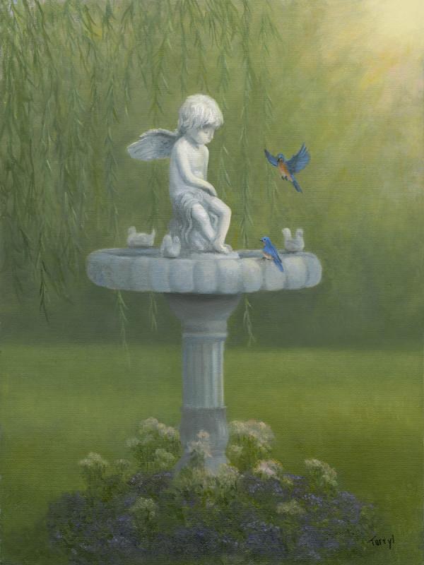 Bluebirds and the cherub by Tarryl Gabel