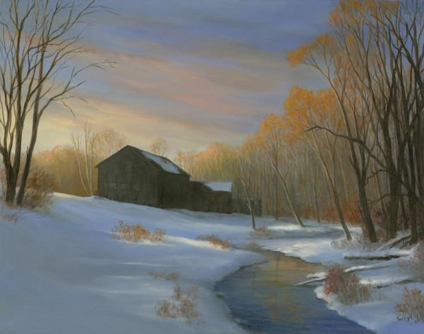 Last light on the first snow by Tarryl Gabel