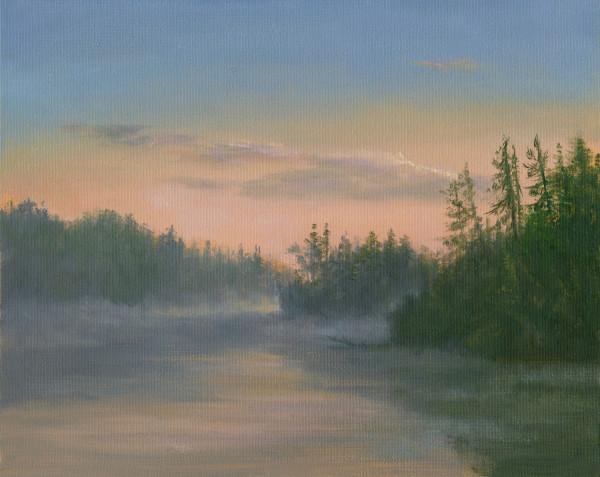 Misty Morning at Mountain Pond by Tarryl Gabel