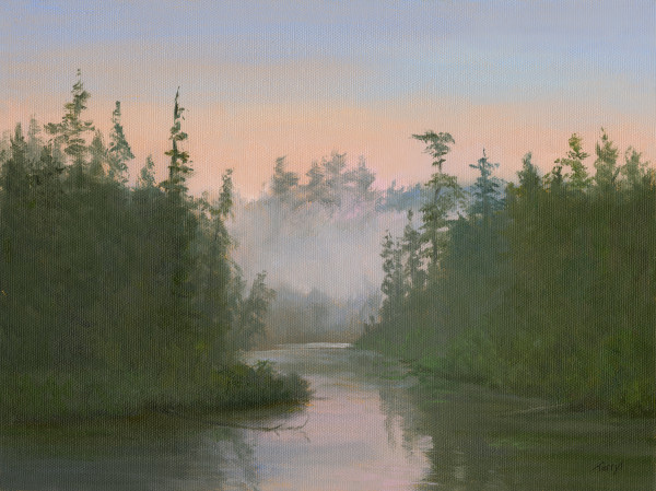 Misty Sunrise, Adirondack Stream by Tarryl Gabel