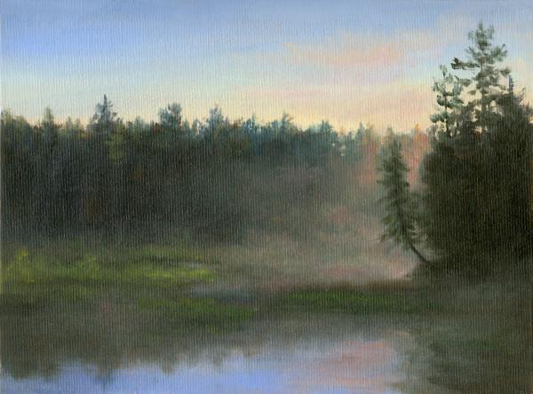 Pink Morning Mist, leaning tree by Tarryl Gabel