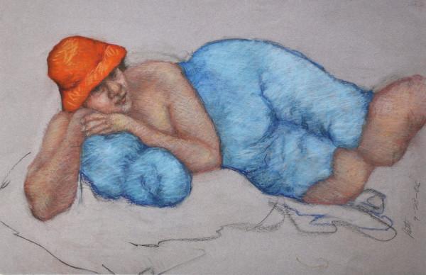 Patty in Orange Hat by Merrilyn Duzy