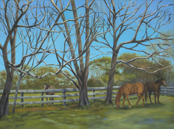 BARE NAKED TREES  aka Chilling in the Pasture by Brenda Francis