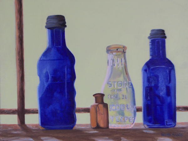 BLUE BOTTLES AT ELMER'S BARN by Brenda Francis