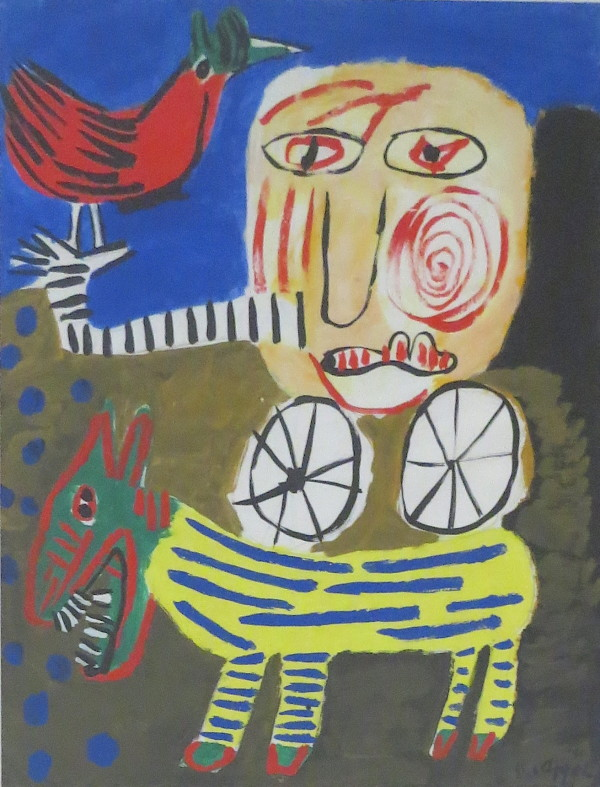 Figure With Bird & Dog by Karel Appel