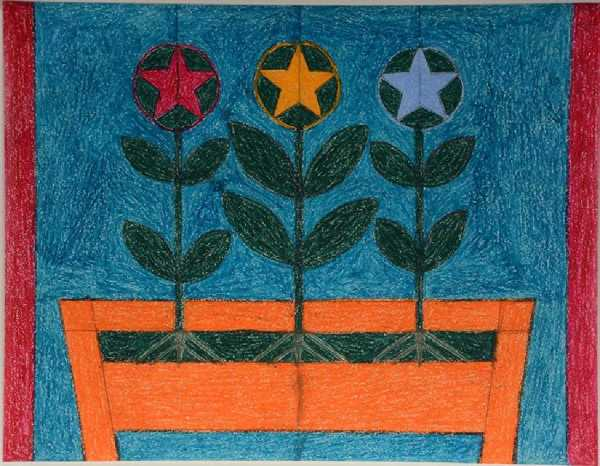 Three Star Flowers in Window Box by Eddie Arning