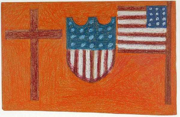 American Flag & Shield with Cross by Eddie Arning