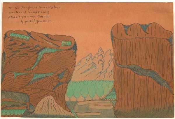 Mt Sir Douglas of Rockey mtn Range near Town of Turner Valley Alberta Proviance Canada by Joseph Yoakum