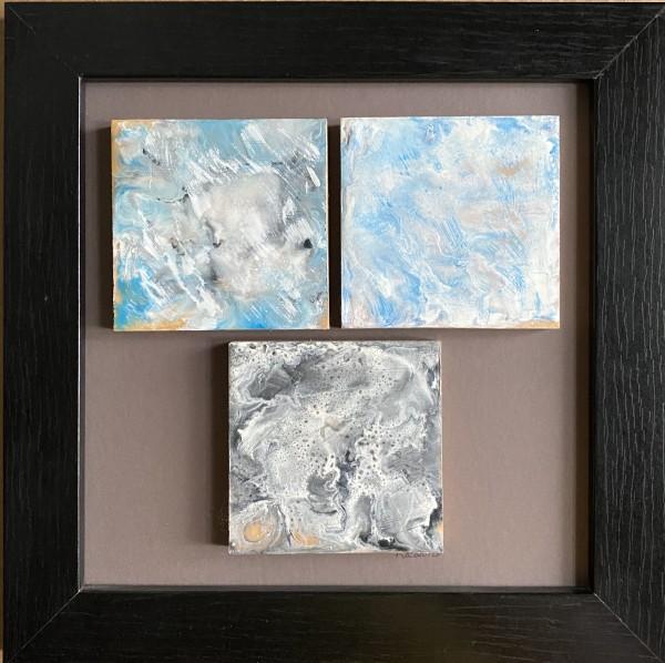 Encaustic 3 Tile piece by Kathie Collinson