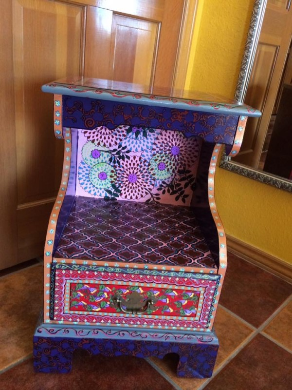 Geometric and floral red and plum vintage side table by Heather Medrano
