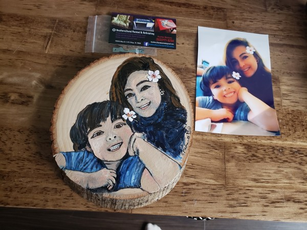 """Portrait Wood Slice Commission 6""""-7"""" by Heather Medrano"""