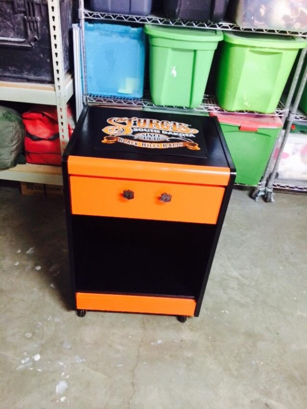 Man cave motorcycle rolling cart by Heather Medrano