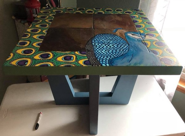 Peacock Slate coffee table by Heather Medrano