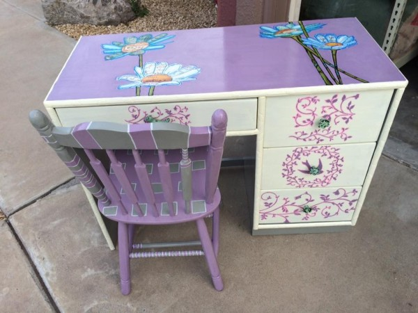 Lilac little girls desk set by Heather Medrano