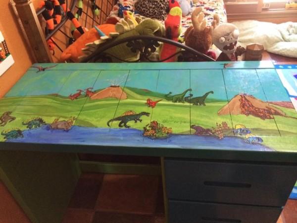 Dinosaur themed boys desk by Heather Medrano