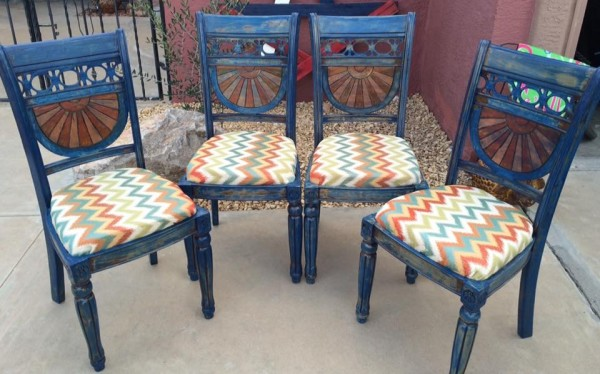 Caribbean blue refinished Sunset dining chairs by Heather Medrano