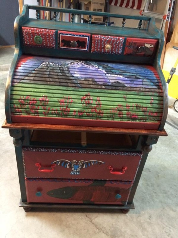 North Western /Alaskan Antique rolling desk with stool by Heather Medrano