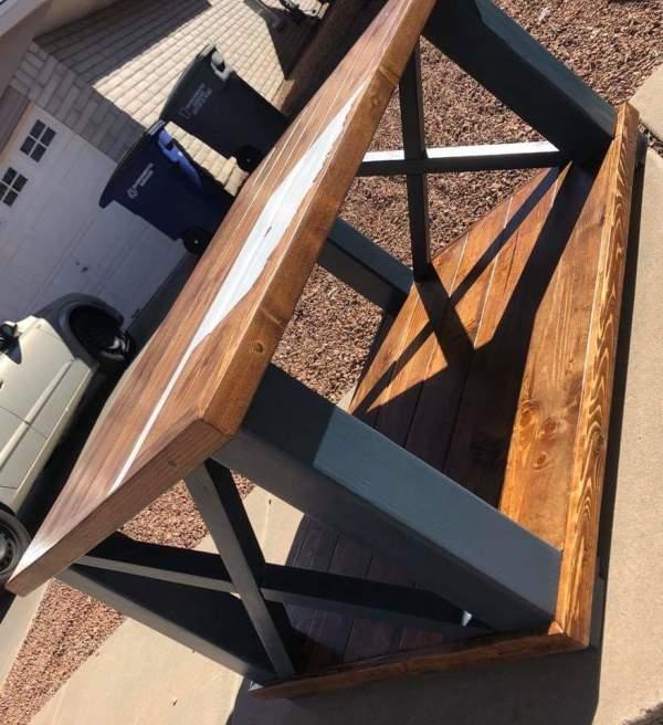 Farm house coffee table with Oklahoma Artwork by Heather Medrano