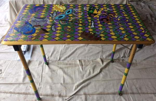 New Orleans folding wood table by Heather Medrano