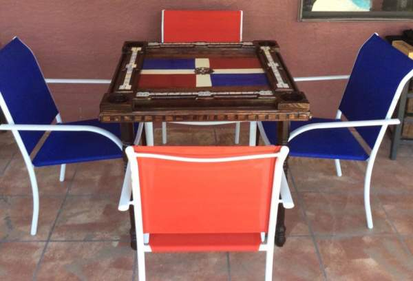 Dominican Flag handcrafted domino tabl by Heather Medrano