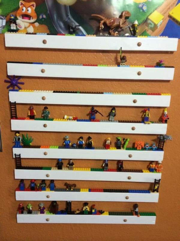 Lego men collection shelves by Heather Medrano