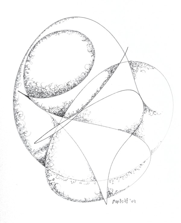 "Polished Convolutions, the drawing that resulted in ""The Millennium Stone"" by Dave Martsolf"