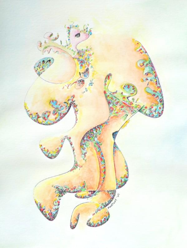 Gold Bejeweled Fertility Goddess by Dave Martsolf
