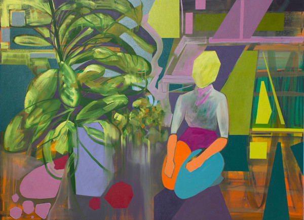 Kneeling Figure by Potted Plants by Pamela Staker