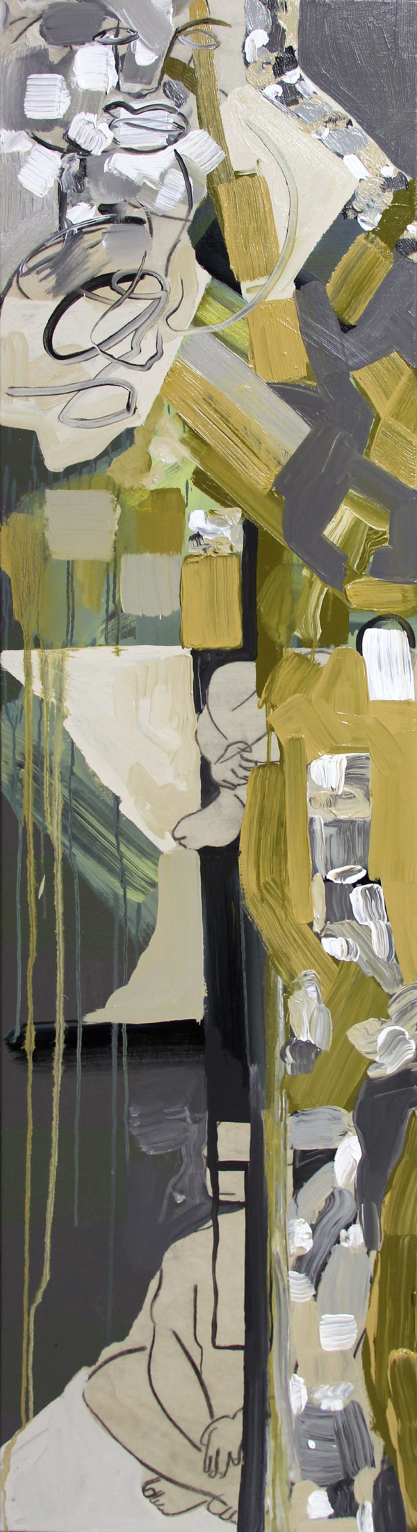 Seated Figures in Urban Landscape by Pamela Staker