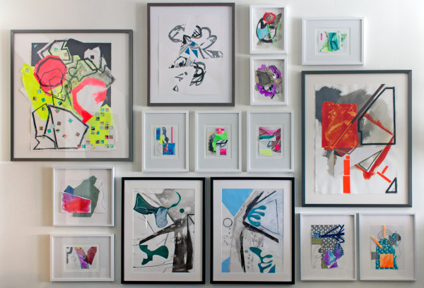 Wall Installation - various framed works on paper by Pamela Staker