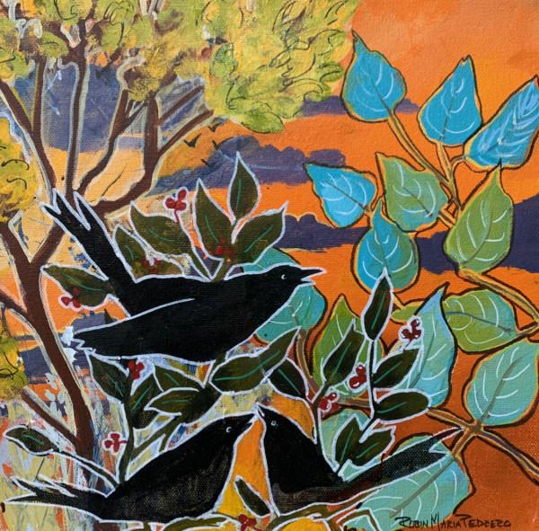 Blackbirds at Sunset by Robin Maria Pedrero