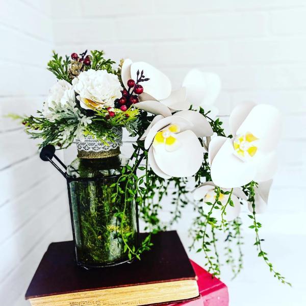 Paper Flower Orchids/Carnation Centerpiece by Mallorie Evans