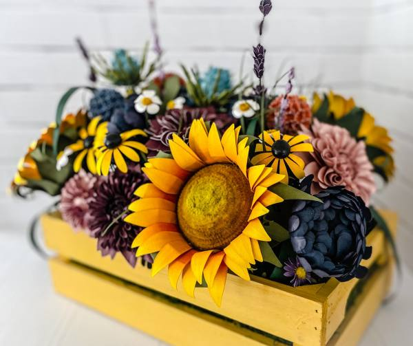 Paper Wildflower Wooden Yellow Crate by Mallorie Evans