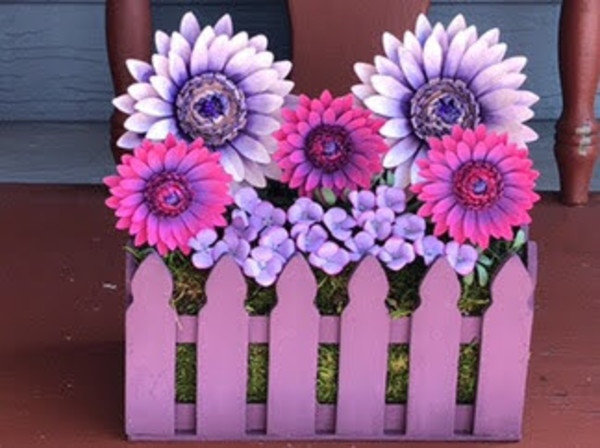 Paper Gerbera Daisy Fence Crate by Mallorie Evans