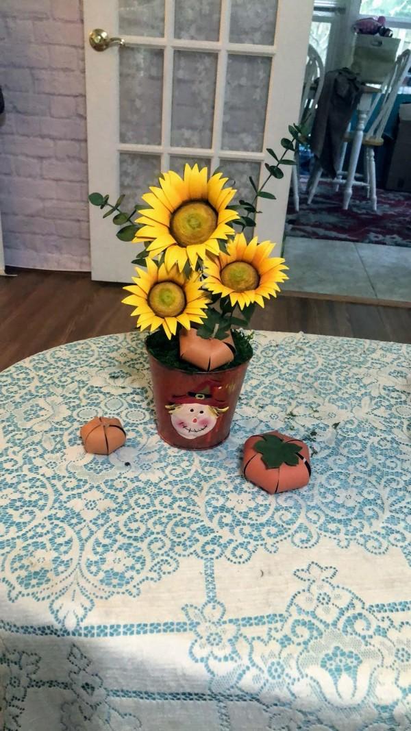 Paper Sunflower Cemterpiece by Mallorie Evans