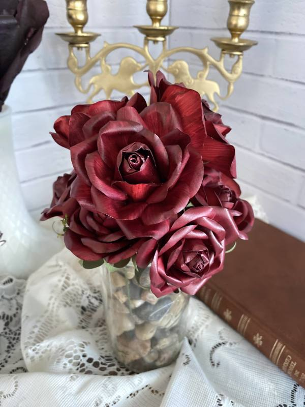 Single-Stemmed Painted Paper Roses by Mallorie Evans