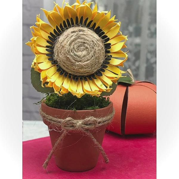 "Paper Sunflower Mini 2"" Terra-cotta Pot by Mallorie Evans"