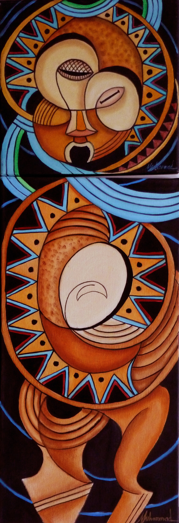 Maruvian Ashante Mask Diptych by Marcella Hayes Muhammad