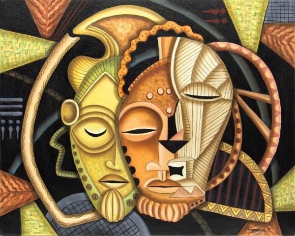 Maruvian Male Society Masks by Marcella Hayes Muhammad