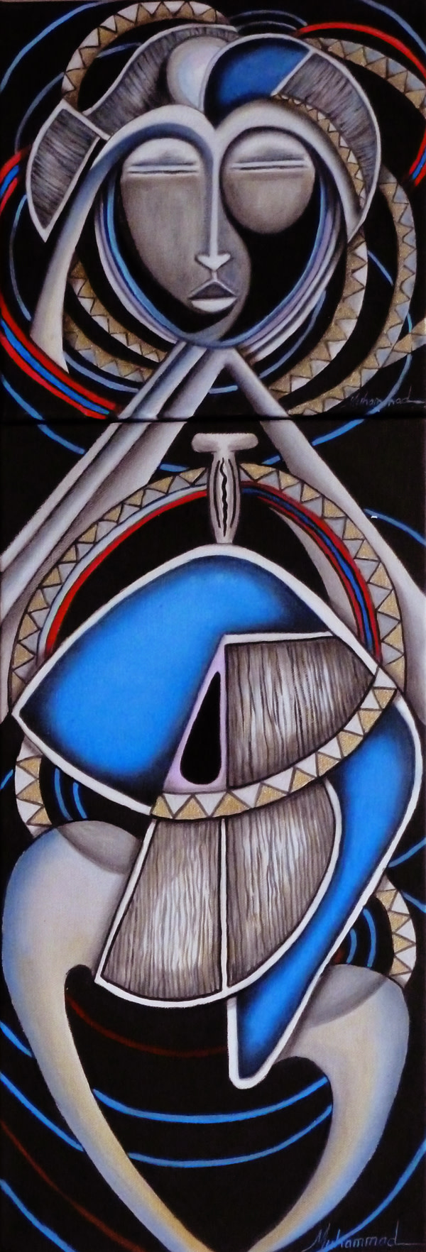 Maruvian Silver Mask Diptych by Marcella Hayes Muhammad