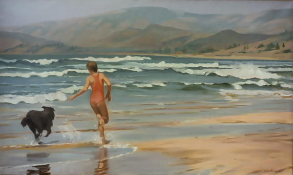 Untitled #275 (A girl and her dog on the beach) by Pat Ralph