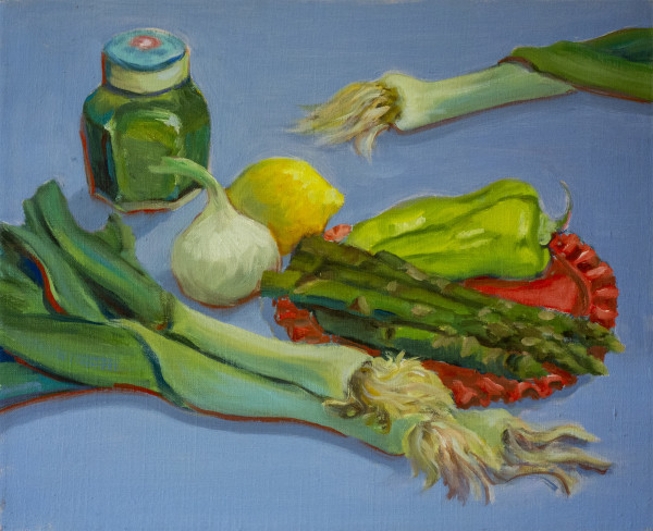Untitled #290 (Green Vegatables with Red Plate) by Pat Ralph